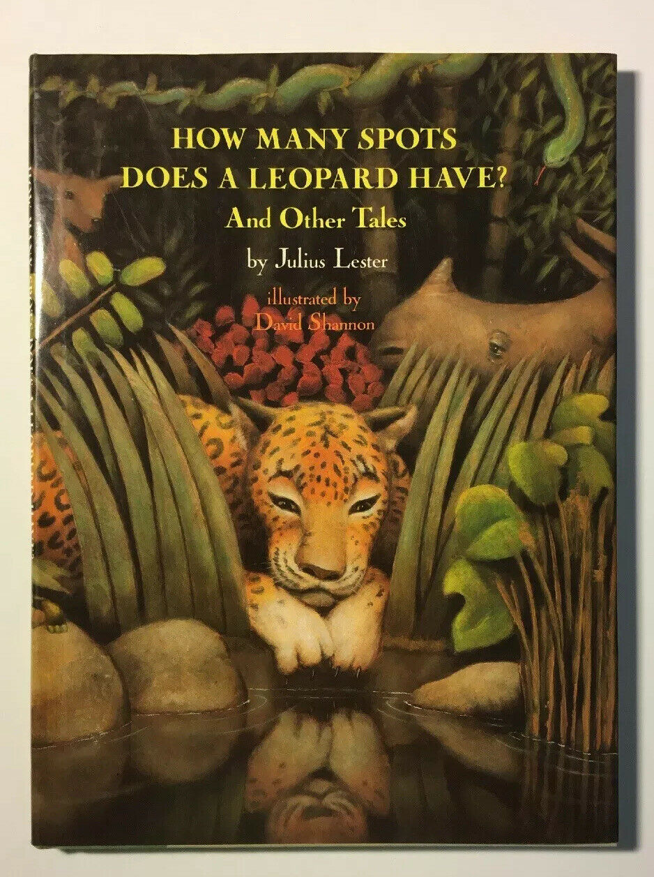 Book Cover depicting a leopard peering between tall grass and seeing it's reflection in a pond.