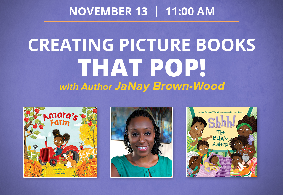 Image of author with 2 of her book covers. Creating Picture Books that POP!